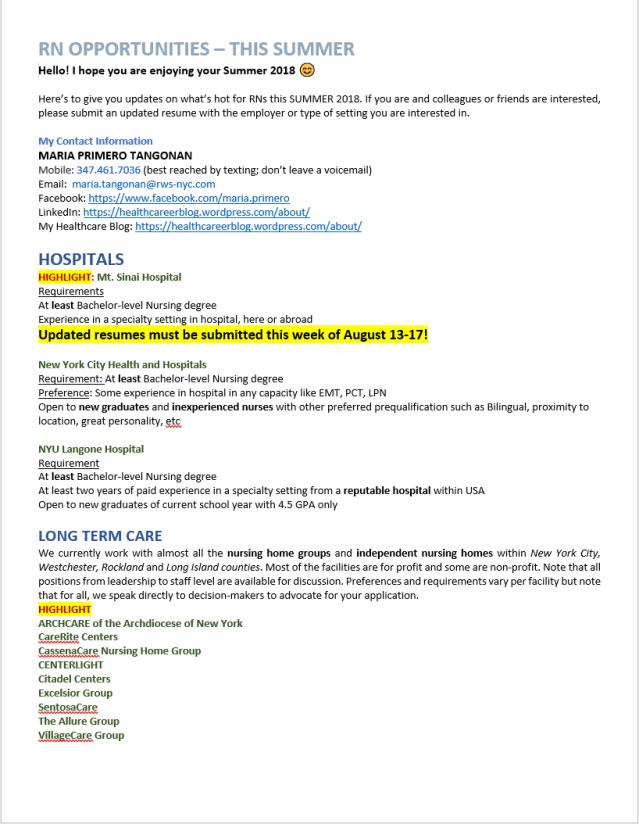 Maria Primero | Healthcare Job Bank